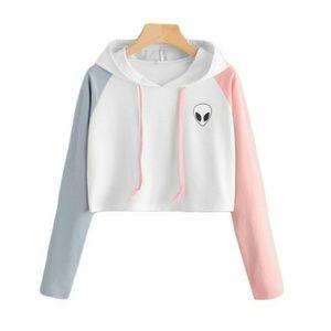 Sweaters - NEW ALIEN COLOR BLOCK CROP HOODIE